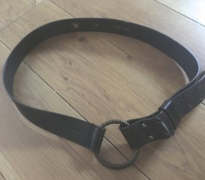 Cinturón de cadera marrón-negro-color oro Cuero