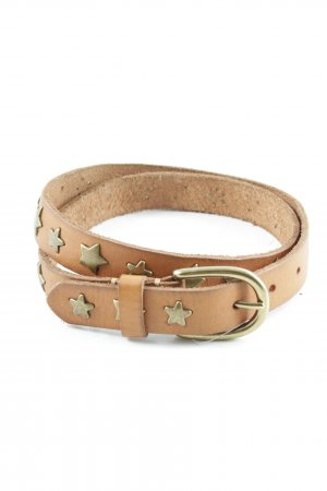 Leather Belt cognac-coloured star pattern country style