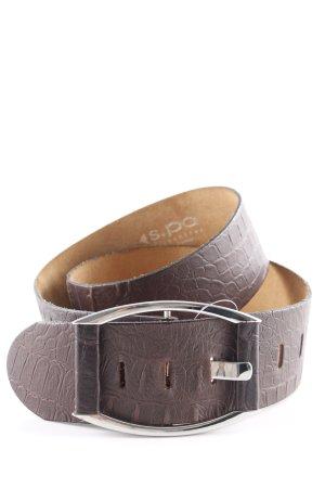 Leather Belt dark brown animal print