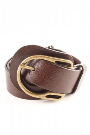 Leather Belt dark brown-gold-colored casual look