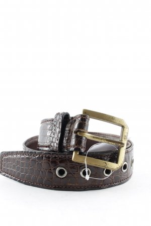 Leather Belt dark brown-gold-colored vintage products