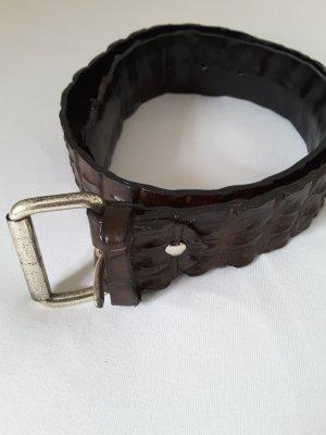 Ledergürtel, dunkelbraun, kroko-optik, Länge c. 106cm