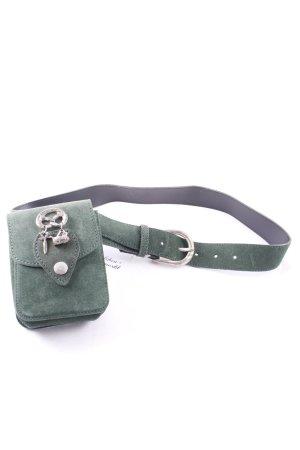 Cintura di pelle verde scuro stile country