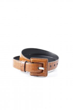 Leather Belt dark orange animal pattern Aztec print