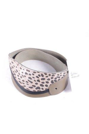 Leather Belt grey brown animal pattern