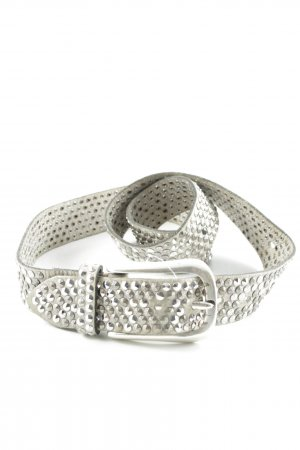 Leather Belt oatmeal-silver-colored wet-look