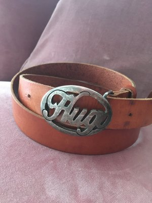 Hugo Boss Leather Belt cognac-coloured-silver-colored leather