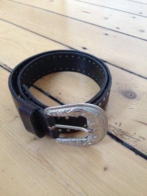 Vanzetti Leather Belt black-silver-colored