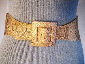Ledergürtel in Animalprint Snake gold