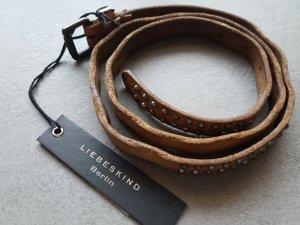 Liebeskind Berlin Cintura di pelle color cammello-sabbia