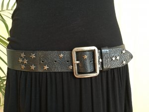 Wrangler Leather Belt black-silver-colored leather