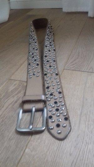 Ledergürtel mit Nieten, Sternchen und navy Steinen