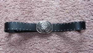Leather Belt black-silver-colored