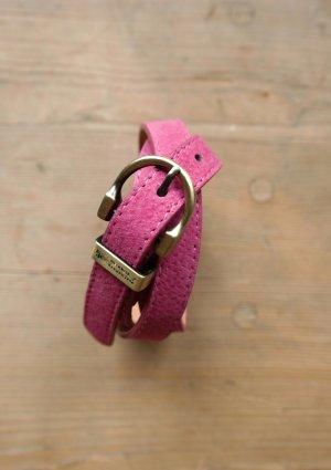 Ledergürtel - Pink / Gold
