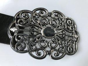 Ledergürtel schwarz, Löwenherz, dekorativer Vintage Look mit Silberschnalle, 95 cm