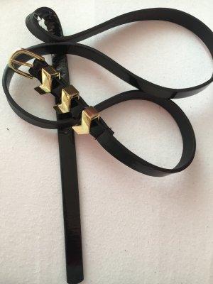 Ledergürtel schwarz mit goldener Schnalle
