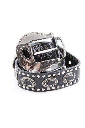 Ledergürtel schwarz-silberfarben Casual-Look