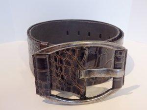 Ledergürtel von *Bazlen* accessoires Kroko Braun