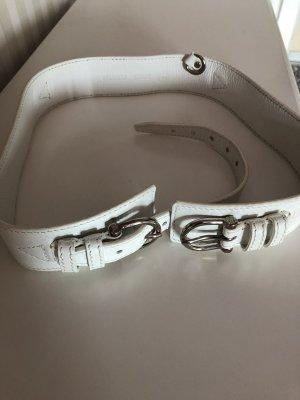 Burberry Cinturón de cuero blanco