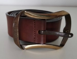 Diesel Cinturón de cuero marrón oscuro
