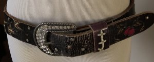 Ed Hardy Leather Belt dark brown-cream
