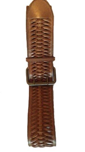 Cintura di pelle marrone chiaro-marrone