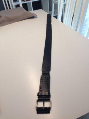 Zero Leather Belt black-silver-colored