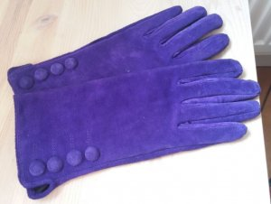 H&M Leather Gloves dark violet suede