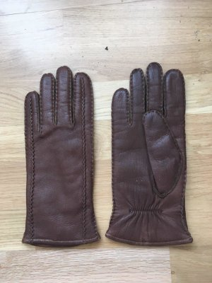 Gloves cognac-coloured leather