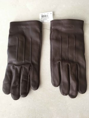 Coach Leather Gloves dark brown leather