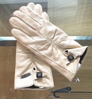 Leather Gloves cream-silver-colored leather