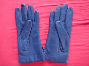 Leather Gloves blue-steel blue