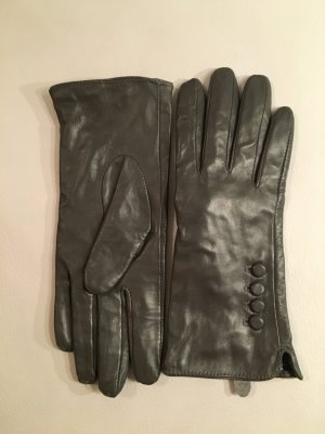 Leather Gloves khaki-green grey leather