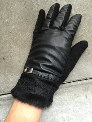 Leather Gloves black cashmere