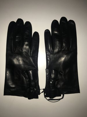 Lederhandschuhe mit Schleife in schwarz von Moschino in Gr. 7.0