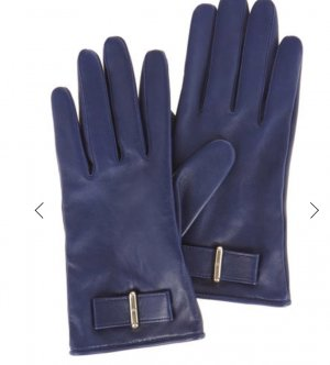KAREN MILLEN Leather Gloves dark blue-silver-colored leather