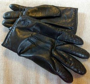 Gevoerde handschoenen zwart Leer