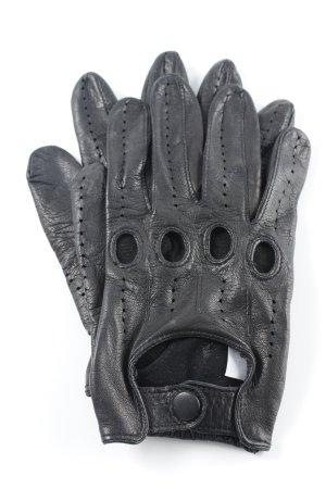 Lederhandschuhe schwarz Biker-Look