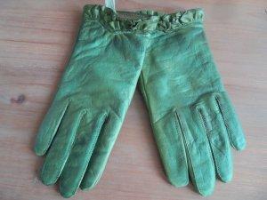 Guantes con dedos verde claro-verde Cuero
