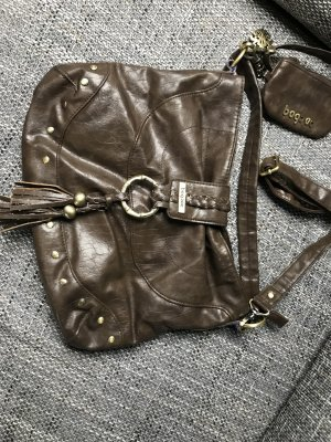 Pouch Bag bronze-colored-taupe leather