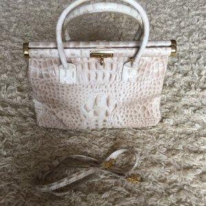 Lederhandtasche mit Krokoprägung, ivory/ beige