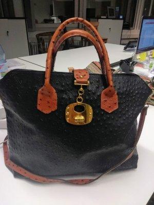 Lederhandtasche, schwarz, von Borse in Pelle
