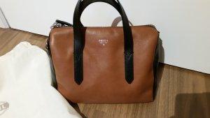Lederhandtasche von Fossil -  Braun-Schwarz - wie neu