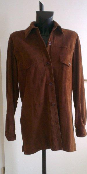 Camicia in pelle marrone Pelle