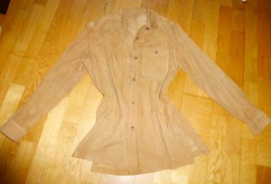 Joy Leather Blouse sand brown suede