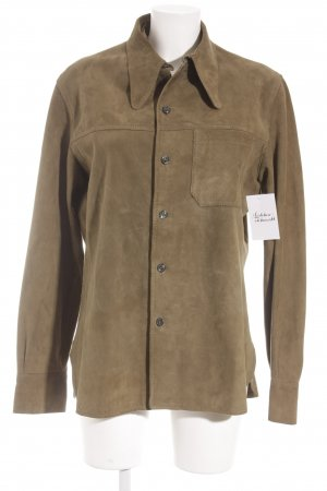 Leather Shirt olive green casual look