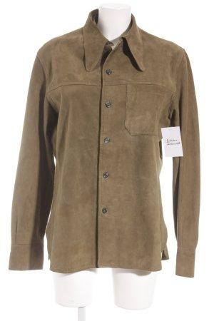 Leren shirt olijfgroen casual uitstraling