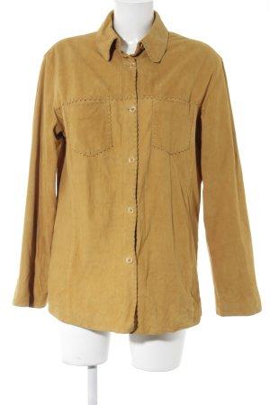 Chemise en cuir brun sable style décontracté