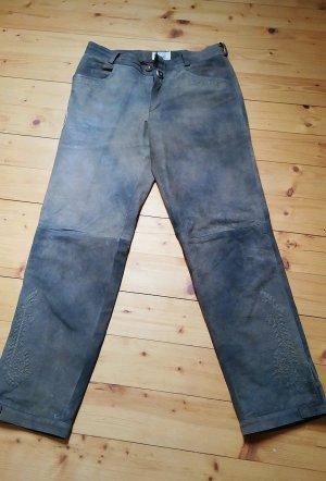 Spieht & Wensky Pantalón de cuero marrón grisáceo