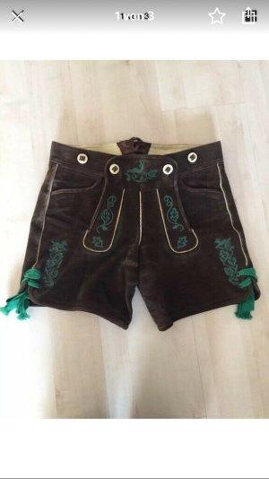 Original Steindl Pantalon traditionnel en cuir vert foncé-brun foncé